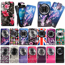 For Samsung Galaxy S4 Zoom C1010 Prinetd Leather Magnetic Flip Case Cover+Stylus