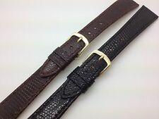 20mm Black Brown Hadley Roma Genuine Leather Watch Band Lizard MS701 Stitched