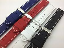 20mm Black White Red Blue Silicone Layered Leather Hadley Roma Watch Band MS740