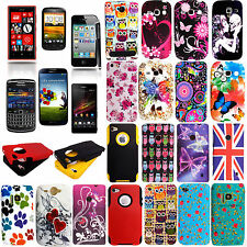 PRINTED SILICONE RUBBER GEL CASE COVER FOR VARIOUS MOBILE PHONES +GUARD+STYLUS