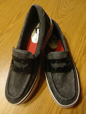 Women's Report Slip On Canvas Black and Black Glitter Loafer with Red Stitching.