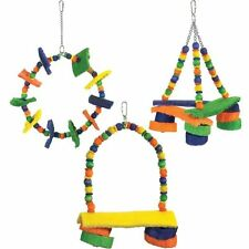 Brainy Bird Toy Fiesta Series Leather Wood Cotton Rope Med/Large Birds