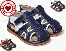 Boy Squeaky Sandals, Navy/Brown/Black, Removable Squeaker