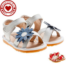Girl Squeaky Sandals, White/Red, Blue/White Flower, Removable Squeaker