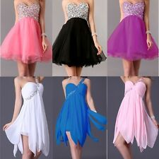 US Beaded Bridesmaid Cocktail Prom Short Mini Gowns Party Formal Evening Dresses