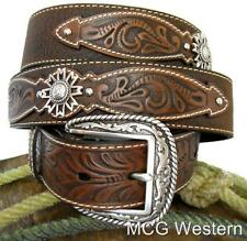 Ariat Western Mens Belt Leather Rowel Brown Oiled Rowdy A10004965