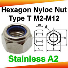 Hexagon Nyloc Nylon Insert Nuts Type T, Stainless Steel A2, M2 - M12