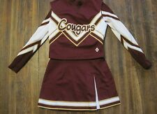 3pc TWEEN/ADULT SMALL CDT CHEERLEADER UNIFORMS BURGUNDY WHITE GOLD COUGARS