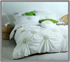Gainsborough Fleur White Lime Green Gathered * KING QUEEN QUILT DOONA COVER SET