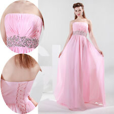 Chic Beaded waist Evening Formal Bridesmaid Wedding Ball Gown Prom Party Dresses