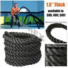 """1.5"""" Battle Rope Poly Dacron Undulation Rope Exercise Fitness 30ft, 40ft, 50ft"""