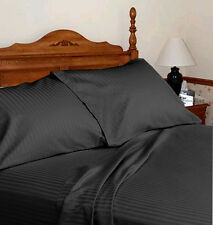 "HOTEL BRAND 800TC ""BLACK"" SOLID-STRIPE 100%EGYPTIAN COTTON BEDDING SET ALL SIZE"