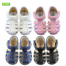NEW Boys/Girls Leather Sandals/Shoes Size 0-8 Approx: 3M-3Y in White-Black-Navy