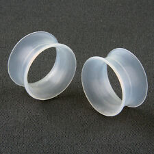 1 Pair of Clear Silicone Ear Skins Tunnel Ear Plugs Gauges (2G - 1inch) - New!