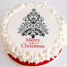 "Christmas Cake Topper - Christmas Tree Cake Topper - 7.5"" Round - Icing or Wafer"