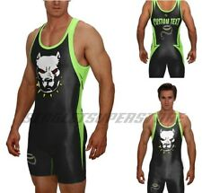Pitbull wrestling singlet, includes custom text, no minimums or set up fees