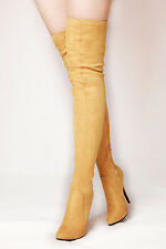 Lady's Boots High Heel Faux Suede Thigh High Zip Stiletto Yellow UK4/37-UK12/45