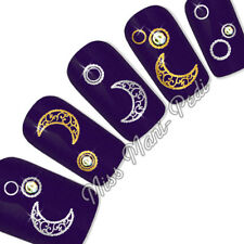 Nail Art Water Transfers Decals Metallic Silver/Gold Crescent Moons Gothic T313