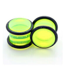 "(10G - 1/2"") Green Transparent Acrylic Double O-Ring Ear Plugs Gauges (Pair) New"