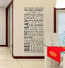 IN THIS HOUSE WE ARE A FAMILY Wall Quote Art Wall Stickers UK