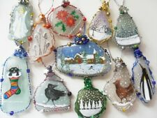 Hand painted sea glass Christmas tree decorations - Reindeer, Snowman, Festive