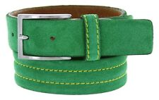 """Men's Italian Suede Leather Dress Casual Golf Belt Made in Italy 1-3/8"""" Wide"""
