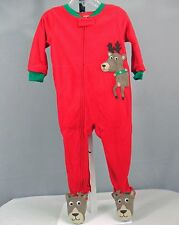 Boy's Size 12 Or 18 Mos. Carter's 1 Pc. PJ's w/App. Reindeer, NWT