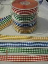 3 METRES GINGHAM CHECK POLYESTER RIBBON 15MM WIDE-CHOICE OF COLOURS