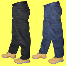 2 x Pairs Mens Premium Cargo Combat Work Wear Trousers Pants Multi Pockets