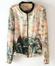 Spring Fashion Collared Splicing Double Pocket #E Floral Print Coat Jacket SML