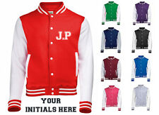 NEW MENS WOMENS KIDS PERSONALISED CUSTOM PRINT YOUR INITIALS COAT VARSITY JACKET