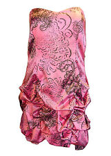 Ruby Rox 16 18 22 Pink & Black Print Strapless Cocktail Party Prom Dress NWT F/S
