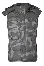 MENS KHAKI CAMOUFLAGE CAMO HOODED  PADDED GILET BODYWARMER - DETACHABLE HOOD