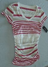Style & Co. Long Striped T-Shirts       Ruched Sides     100% Cotton       NWT