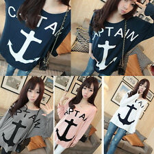 Women's Girl Loose Casual Batwing Sleeve Hook Anchor Patten T Shirt Tops Blouse