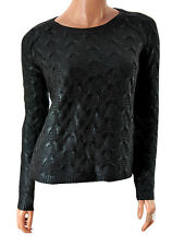 Ladies Shiny Navy Rubberized River Island Cable Knit Jumper - UK 6 8 10 12 14 16