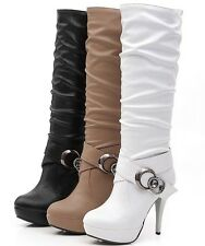 Hot sell  women lady fashion sexy long boot high heel shoes knee boots