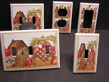 APPLES & BASKET WITH BIRDHOUSE LIGHT SWITCH OR OUTLET COVER V415