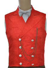 Vintage Deluxe Red Floral Jacquard Double Breasted Steampunk Waistcoat Vest