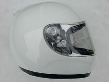 Womans Boys Girls New  Motorcyclists FM Full Face Visor Plain White Crash Helmet