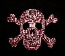 PINK CRYSTAL METAL STUDS SKULL & CROSSED BONES SKELETON SWEATSHIRT