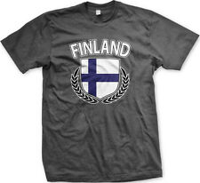Finland Finnish Flag Shield Olive Peace Regal Suomi Scandanavia New Mens T-shirt