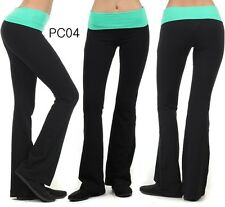 N21 Fold Over CONTRAST YOGA PANTS COTTON LEGGINGS Gym Fitness High Quality PC04