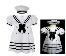 Baby Girl & Toddler Formal Nautical Sailor Party Dress White S M L XL 2T 3T 4T
