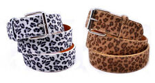 New Leopard Print Faux Fur Textured Leather Belt Animal Cheetah Unisex Men Women