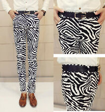 New Arrival Men's Gothic Style Cool Zebra Striped Sexy Pub Pants Casual Trousers
