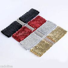 *UK* ELASTIC SEQUIN RED BLACK GOLD or SILVER BELT WAISTBAND BUCKLE CORSET WIDE