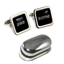 Black Awesome Cufflinks - Great Novelty/Stag Do Gift, Personalised Box Available