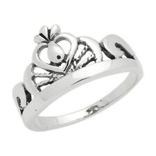 925 Sterling Silver Precious Princess Crown Heart Ring High Polish Solid