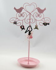 TWO Jewelry Tree Stand, Earrings Necklace Ornament Holder, Birds Hearts